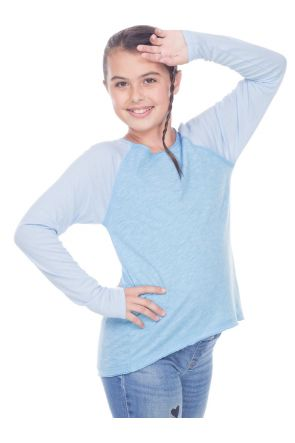 Girls 7-16 Slub Jersey Raw Edge High Low Contrast Raglan Long Sleeve