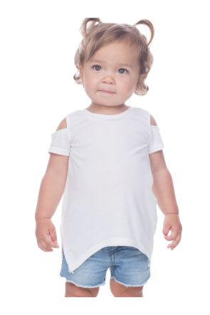 Infants Sheer Jersey Raw Edge Scoop Neck Cold Shoulder Short Sleeves