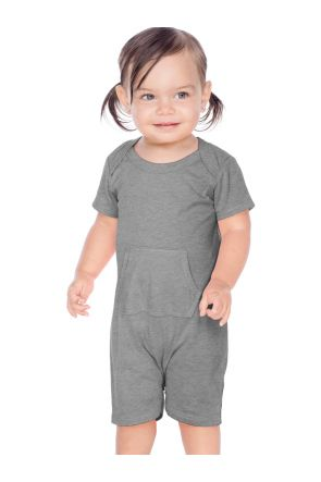 Infants Sheer Jersey Lap Shoulder Short Sleeve Romper W. Pocket