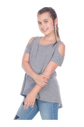 Girls 7-16  Slub Jersey Scoop Neck Cold Shoulder High-Low Short Sleeves