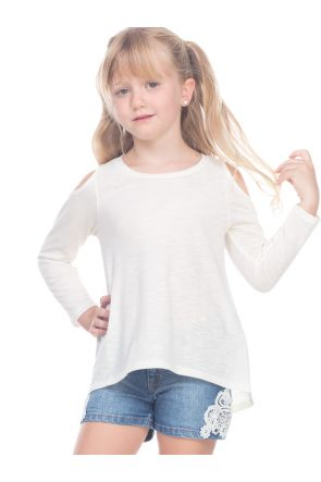 Girls 3-6X Slub Jersey Scoop Neck Cold Shoulder High-Low Long Sleeves