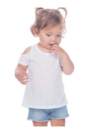Infants Slub Jersey Scoop Neck Cold Shoulder High-Low Short Sleeves