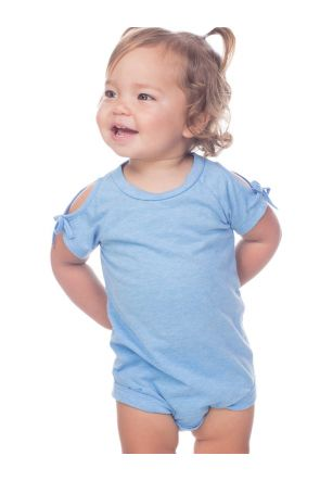 Infants Sheer Jersey Cold Shoulder Raglan Short Sleeves Onesie