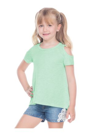 Girls 3-6X  Slub Jersey  Scoop Neck Cold Shoulder High-Low Short Sleeves
