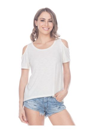 Women Slub Jersey Scoop Neck Cold Shoulder High-Low Short Sleeves