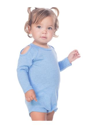 Infants Sheer Jersey Cold Shoulder Raglan Long Sleeve Onesie