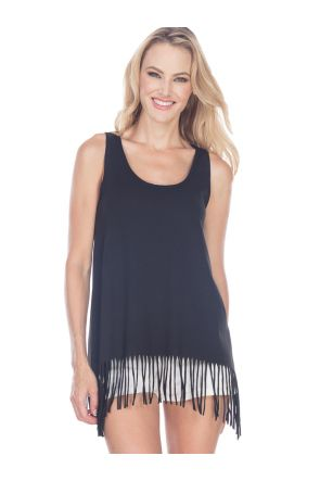 Juniors Sheer Jersey Raw Edge Fringe Asymmetrical Tunic Tank