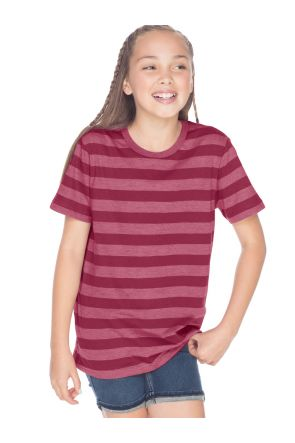 Youth Striped Jersey Crew Neck Short Sleeve Tee