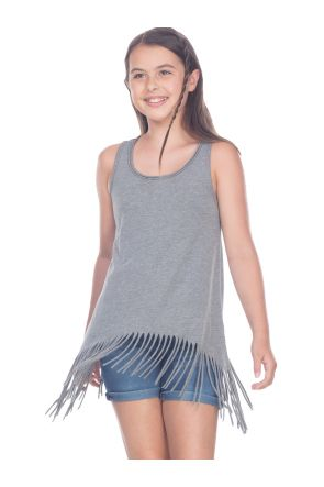 Girls 7-16 Sheer Jersey Raw Edge Fringe Asymmetrical Tunic Tank