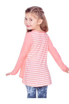 Girls 3-6X Contrast Mini Striped Back High Low Long Sleeves