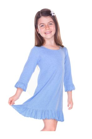 Girls 3-6X Ruffled 3/4 Sleeve A-Line Dress