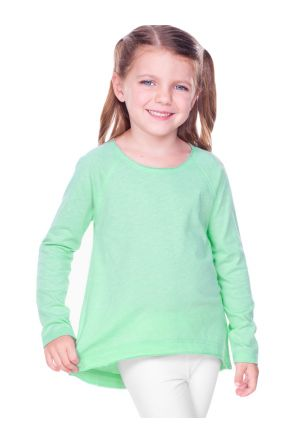 Girls 3-6X  Sheer Jersey Raw Edge Raglan High Low Long Sleeve