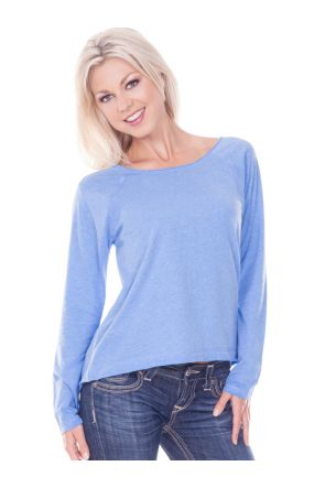 Women Sheer Jersey Raw Edge Scoop Neck High Low Raglan Long Sleeve