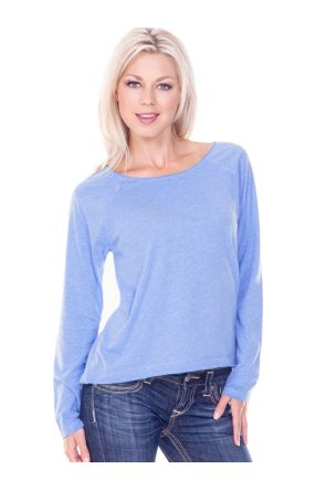 Women 2XL Sheer Jersey Raw Edge Scoop Neck High Low Raglan Long Sleeve