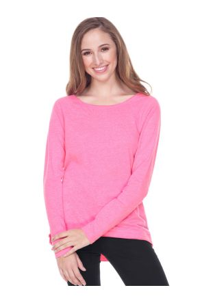 Juniors Sheer Jersey Raw Edge Scoop Neck High Low Raglan Long Sleeve.
