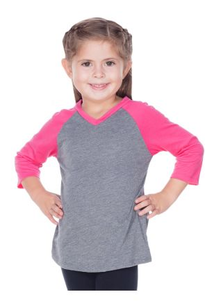 Little Girls 3-6X Sheer Jersey Contrast V Neck Raglan 3/4 Sleeve