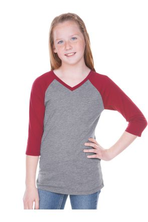 Big Girls 7-16 Sheer Jersey Contrast V Neck Raglan 3/4 Sleeve