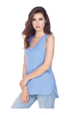 Juniors Sheer Jersey Raw Edge V Neck Curved Hem Tank