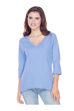 Juniors Sheer Jersey Raw Edge V Neck Raglan 3/4 Sleeve High_Low