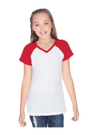 Big Girls 7-16 Sheer Jersey Contrast V Neck Raglan Short Sleeve