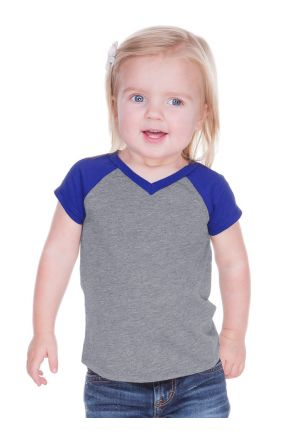 Unisex Infants Sheer Jersey Contrast V Neck Raglan Short Sleeve