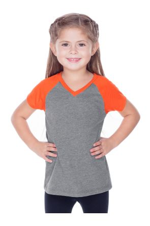 Little Girls 3-6X Sheer Jersey Contrast V Neck Raglan Short Sleeve