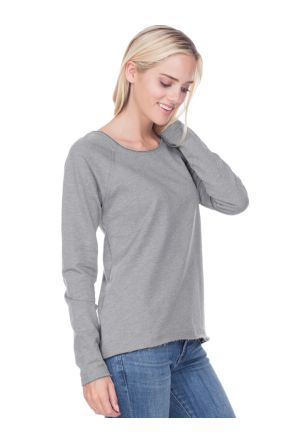 Juniors French Terry Raw Edge Raglan High-Low Long Sleeve