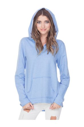 Juniors French Terry Raw Edge High-Low Long Sleeve Lined Hoodie