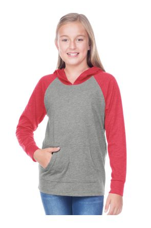 Youth Jersey Contrast Raglan Long Sleeve Hooded Top w. Pouch