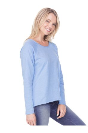 Women French Terry Raw Edge Raglan High Low Long Sleeve