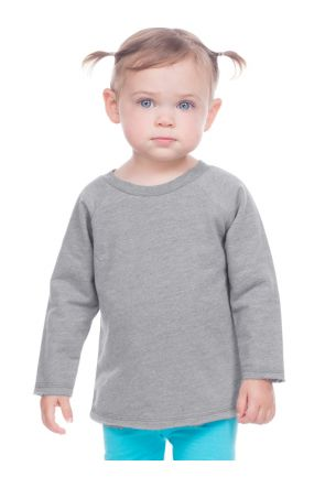 Infants French Terry Crew Neck Raw Edge Raglan Long Sleeve