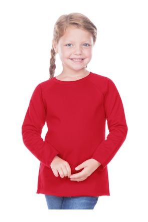 Toddlers French Terry Crew Neck Raw Edge Raglan Long Sleeve