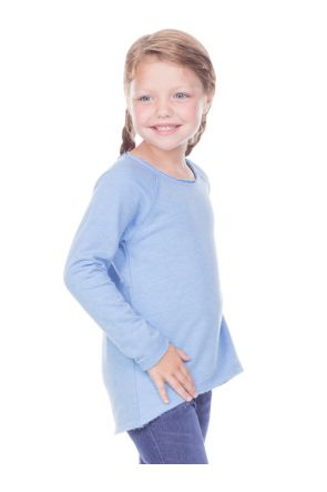 Girls 3-6X French Terry Raw Edge Raglan High-Low Long Sleeve