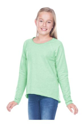Girls 7-16 French Terry Raw Edge Raglan High-Low Long Sleeve
