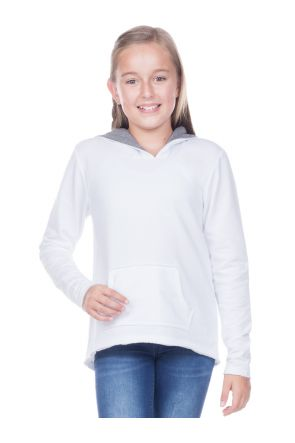 Girls 7-16 French Terry Raw Edge High-Low Long Sleeve Lined Hoodie