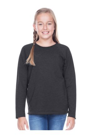 Youth French Terry crew Neck Raw Edge Raglan Long Sleeve