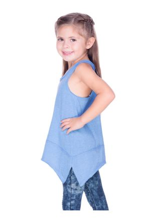Girls 3-6X Sheer Jersey Scoop Neck Raw Edge Shark Bite Tank