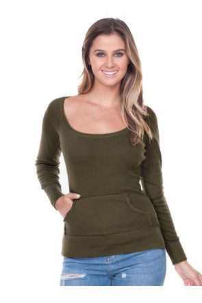 Junior Scoop Neck Raglan Long Sleeve Top Wth Pouch
