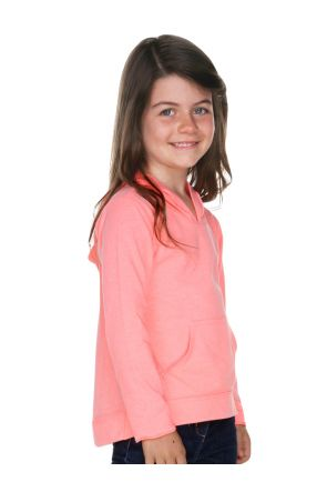 Girls 3-6X Jersey RawEdge High Low Long Sleeve Hoodie w.Pouch