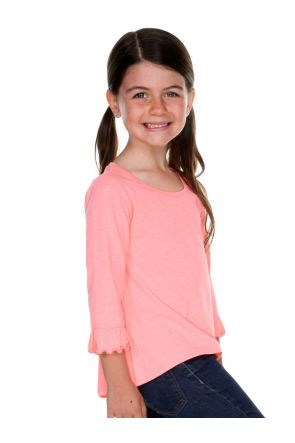 Girls 3-6X Sheer Jersey Ruffled 3/4 Sleeve High Low Top