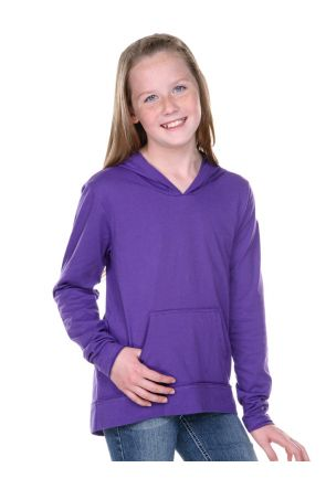 Girls 7-16 Jersey RawEdge High Low Long Sleeve Hoodie w.Pouch