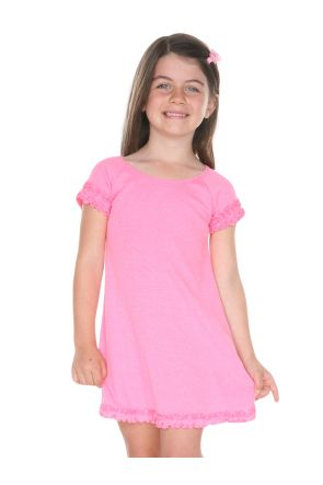 Girls 3-6X Lettuce Edge Raglan Cap Sleeve Dress