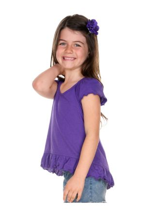 Girls 3-6X Sheer Jersey High Low Flutter Top