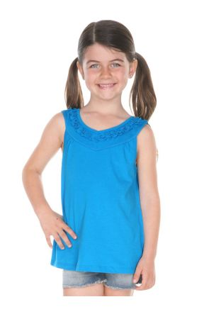 Girls 3-6X Sheer Jersey V Neck Ruffle Yoke Tank