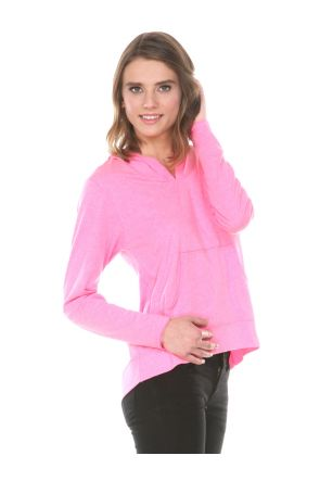 Women 2XL Sheer Jersey Raw Edge High Low Long Sleeve Hoodie with Pouch