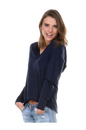 Women 2XL Sheer Jersey V-Neck High-Low Long Sleeve Hoodie