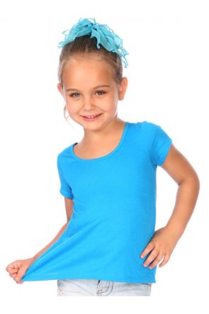 Girls 3-6X Jersey Scoop Neck High Low Short Sleeve