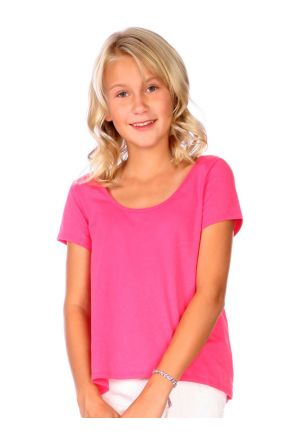 Girls 7-16 Jersey Scoop Neck High Low Short Sleeve