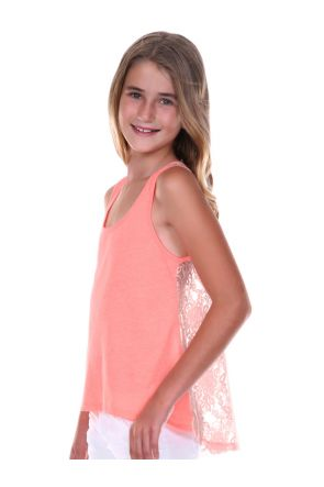 Girls 7-16 Jersey High Low Lace Back Tank