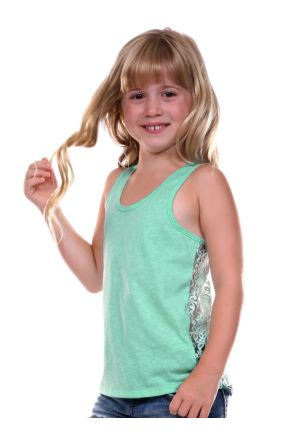 Girls 3-6X Jersey Scoop Neck Lace Racer Back Tank